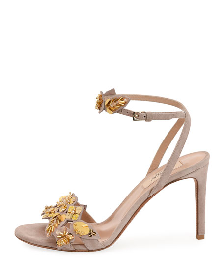 Metallic Pop Flowers Suede d'Orsay Sandal