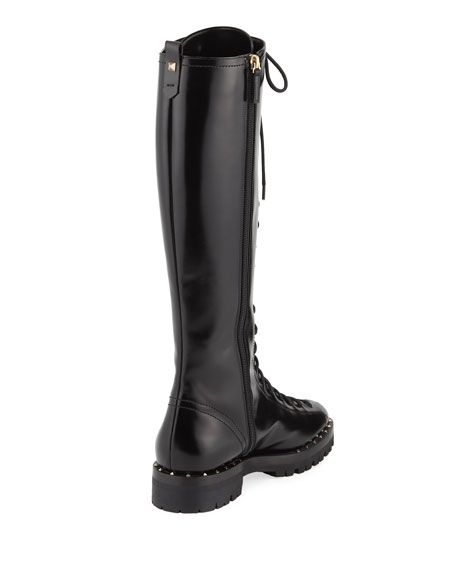 Soulstud Lace-Up Leather Tall Boot