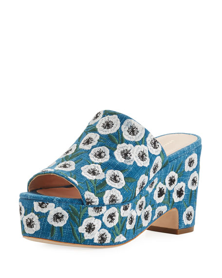 Amara Embroidered Denim Mule Sandal, Blue Pattern