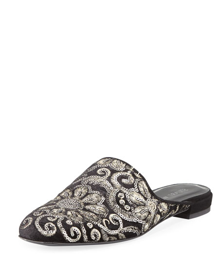Stuart Weitzman Pipe Mulearky Flat Embroidered Mule, Black