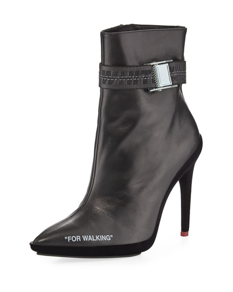 For Walking Logo-Jacquard Printed Leather Ankle Boots, Black/White