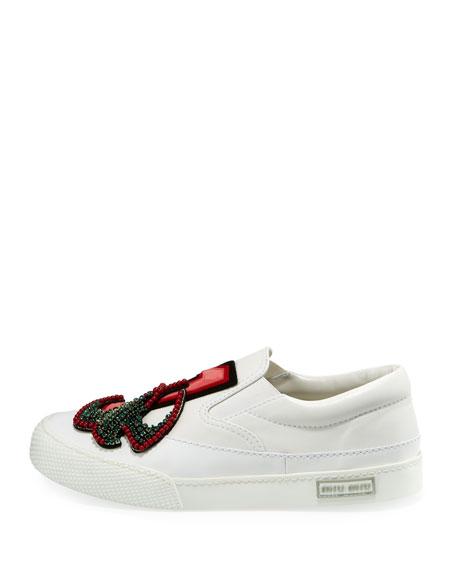 Leather Embellished Slip-On Sneaker