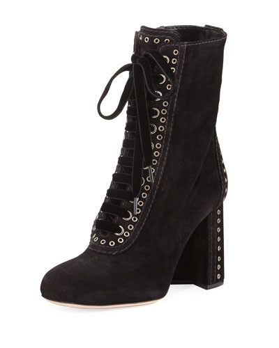 Lace-Up Studded Suede Boot