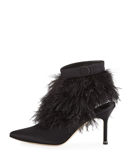 Oterala Feather-Embellished Satin Bootie