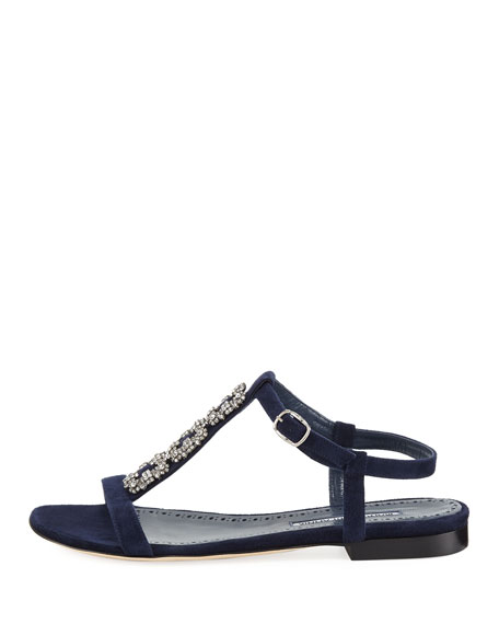 Ottolamod Jeweled Suede T-Strap Flat Sandal