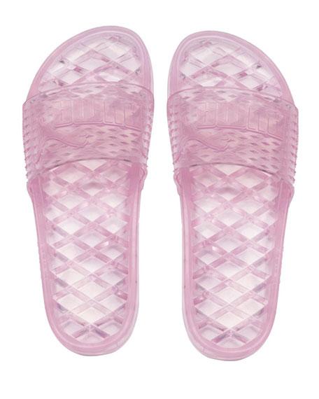 Flat Jelly Slide Sandals, Pink