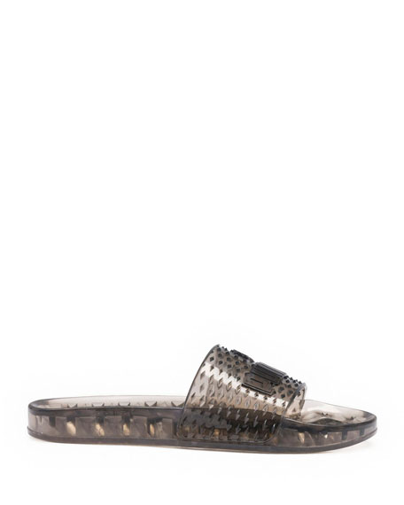 Flat Jelly Slide Sandals, Black