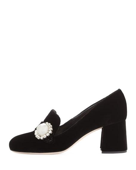 Pearly Block-Heel Velvet Loafer Pump