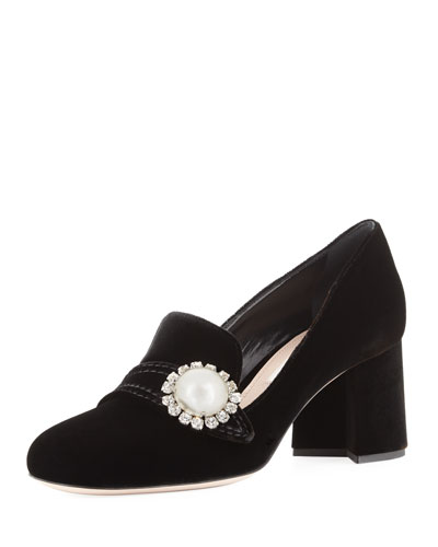 Pearly Block-Heel Velvet Loafer Pump