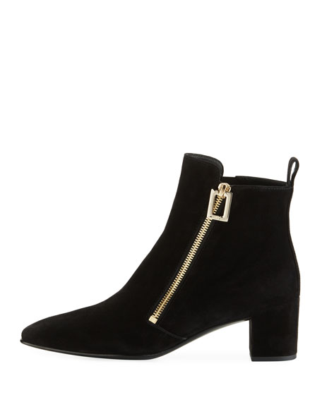 Polly Suede Side-Zip Bootie, Black