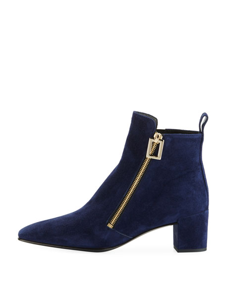 Polly Suede Side-Zip Bootie, Navy