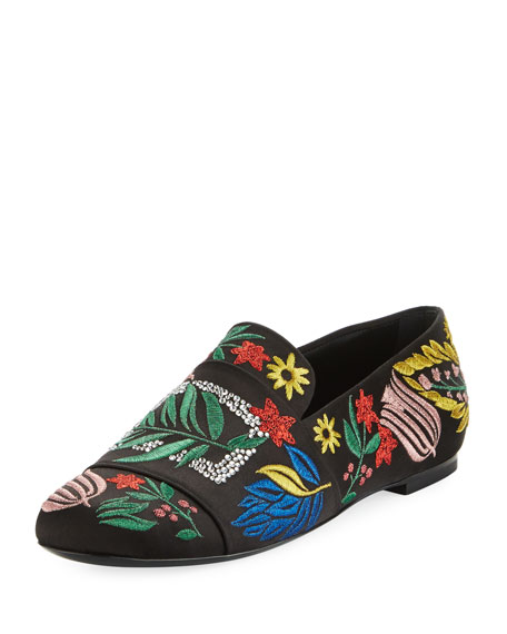 Floral-Embroidered Satin Loafer