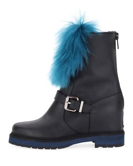 Tall Hidden Wedge Fur Boot, Black
