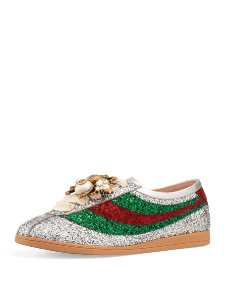 FALACER METALLIC GLITTERED LEATHER LOW-TOP SNEAKERS