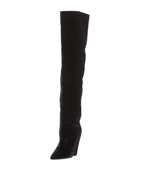 Velvet Cone-Heel Tall Boot