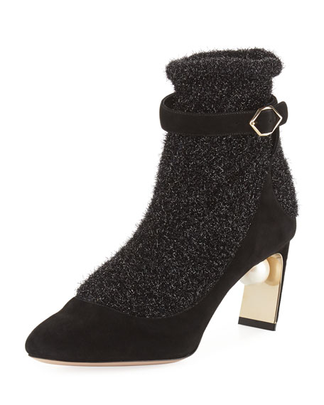 Lola Embellished Suede And Metallic Stretch-Knit Sock Boots in Black