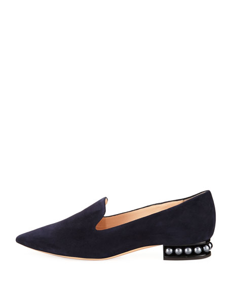 Casati Suede Pearly Heel Loafer