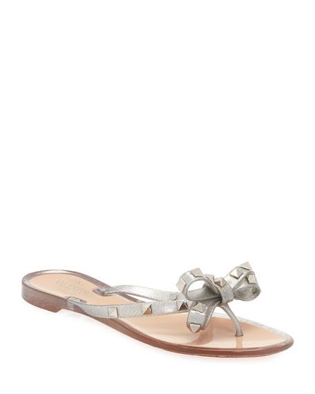 0ec63831320 Valentino Garavani Rockstud Metallic Jelly Flat Thong Sandal