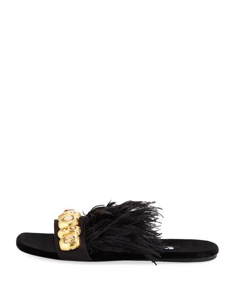 Feather-Embellished Flat Slide Sandal