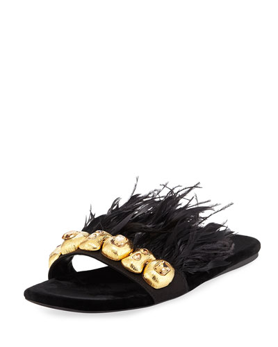 Feather-Embellished Flat Slide Sandal