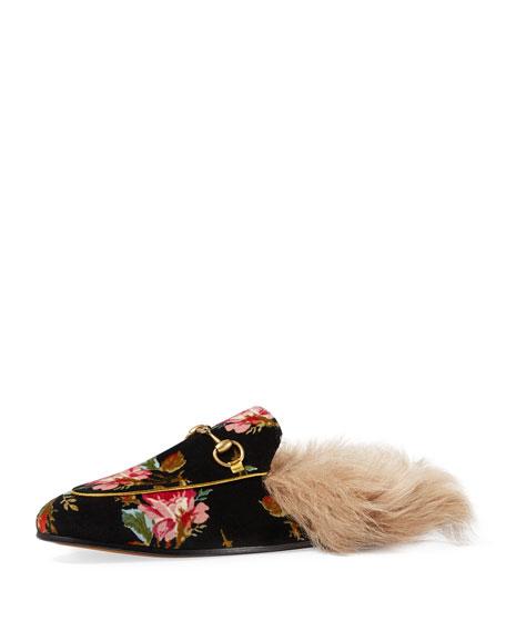 Princetown Fur-Lined Floral Velvet Mule Loafer
