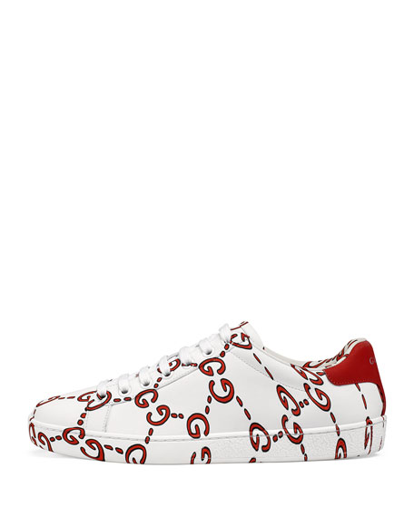 Ace GG Printed Leather Low-Top Sneaker
