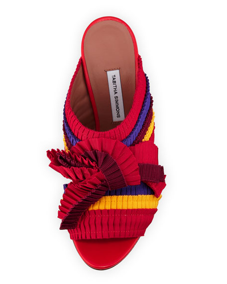 Beau Colorblock Pleated Block-Heel Mule Sandal