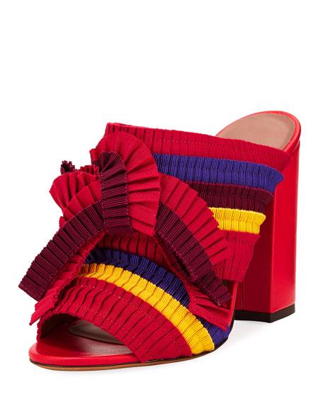 Women'S Beau Ribbon High Block Heel Slide Sandals, Red