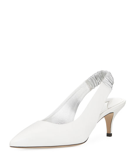 Carpanthian Ruched Slingback Pump in White