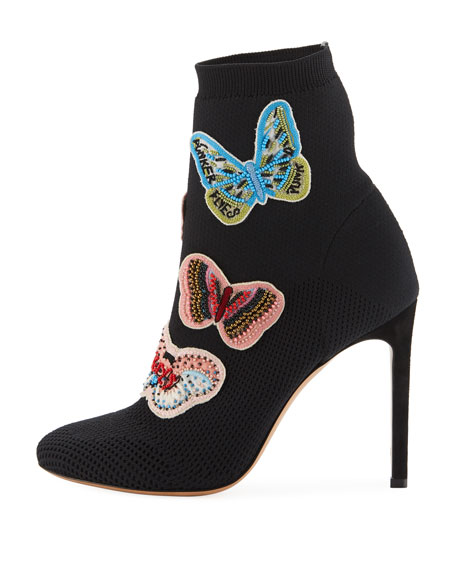 Butterfly Beaded Knit Sock Bootie