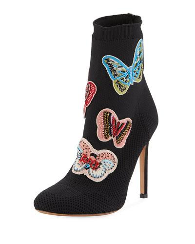 Butterfly Beaded Knit Sock Bootie