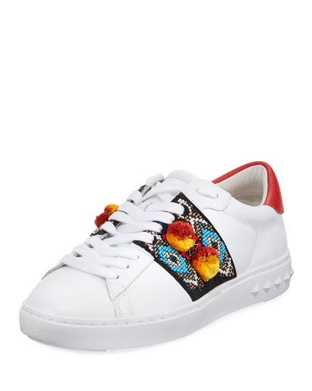 Embroidered Leather Platform Sneakers