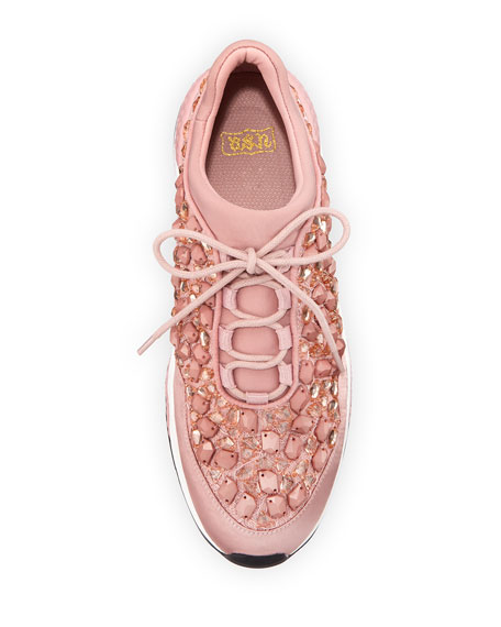 Muse Crystal-Embellished Satin Sneaker