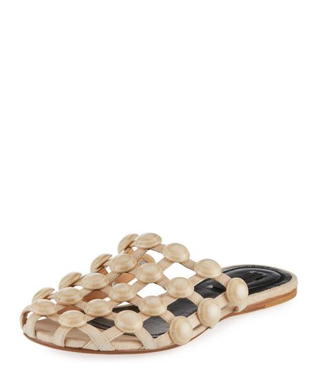 Amelia Grid Studded Caged Leather Mule Flat, Cashmere (Beige)