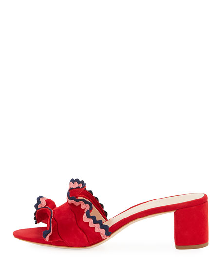 Vera Suede Ruffled 50mm Sandal