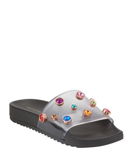Dina Flat Slide Pool Sandals, Black