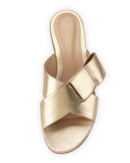 Flat Metallic Ribbon Slide Sandal