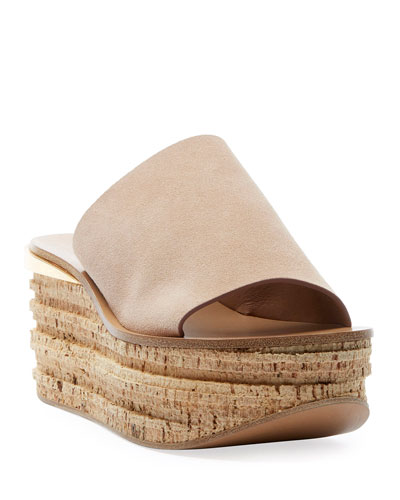 Camille Suede Wedge Slide Sandal