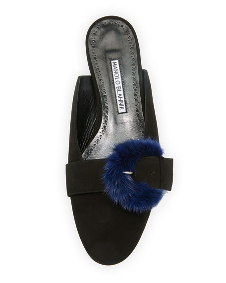 Fur-Trim Suede Mule