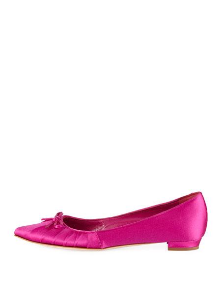 Pleata Point-Toe Satin Ballet Flats