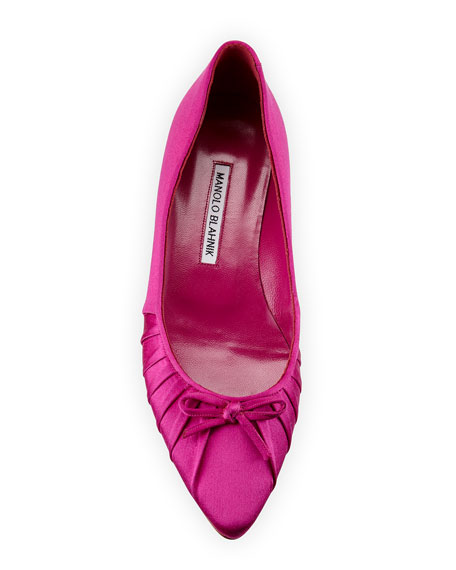 Pleata Point-Toe Satin Ballerina Flat