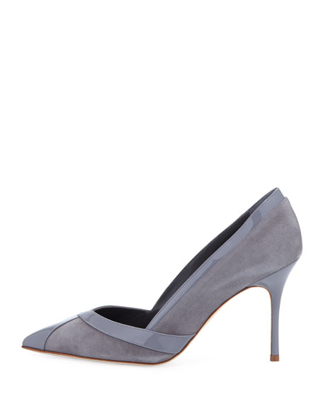 Delun 90mm Suede/Patent Pump