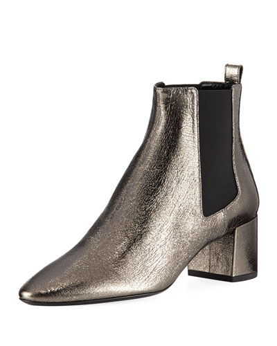 Loulou Metallic Leather Chelsea Bootie