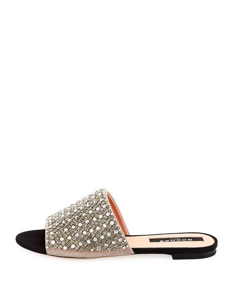 Embellished Suede Slide Sandal