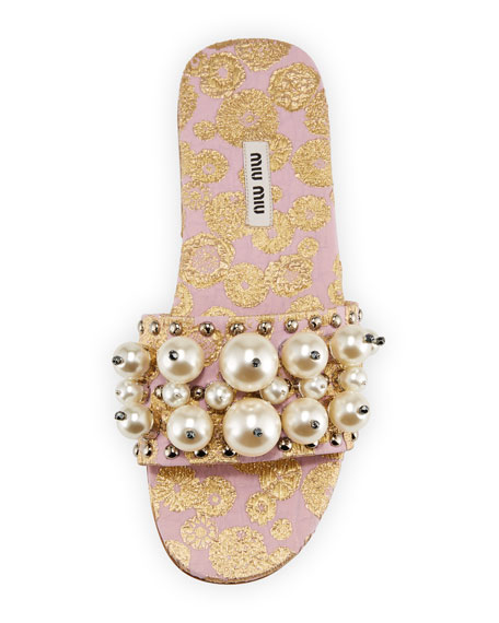 Beaded Jacquard Slide Sandal