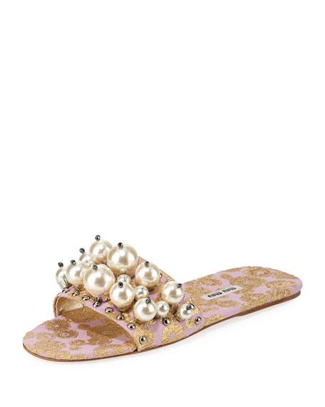 Beaded Jacquard Slide Sandal