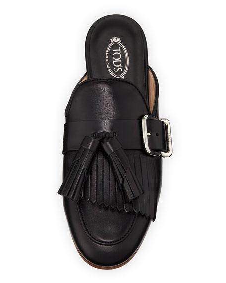 Leather Tassel Fringe Loafer Mule