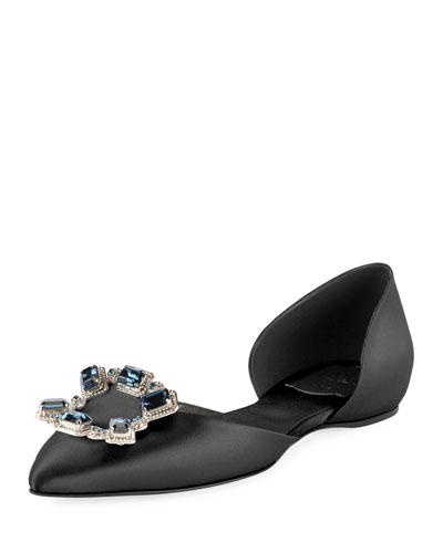 Jeweled Satin d'Orsay Flat