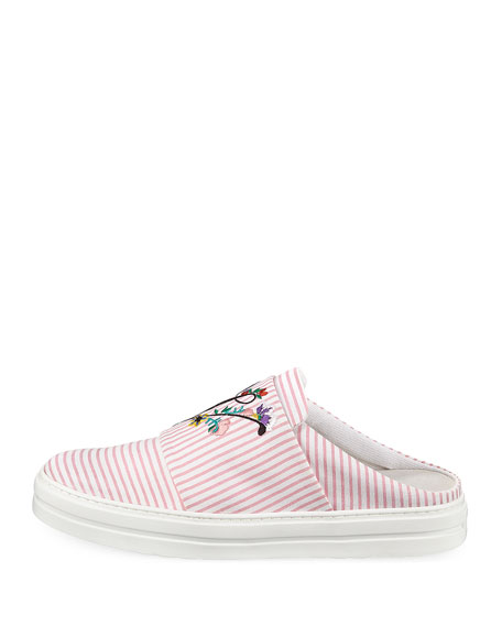 Floral-Embroidered Sneaker Mule