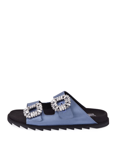 Slidy Viv Satin Strass Buckle Slide Sandal